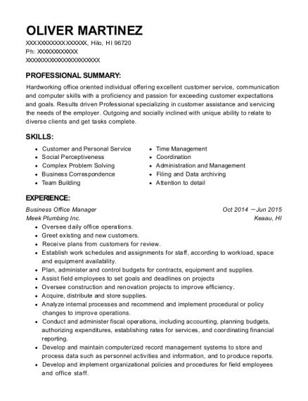 Business Office Manager resume example Hawaii