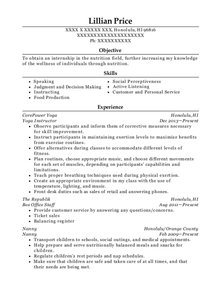 Yoga Instructor resume sample Hawaii