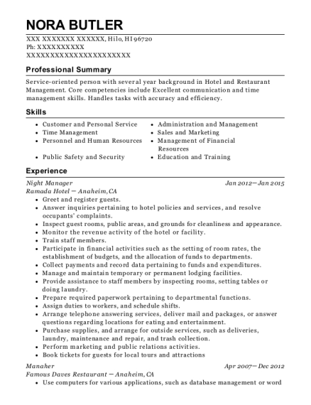 Night Manager resume format Hawaii