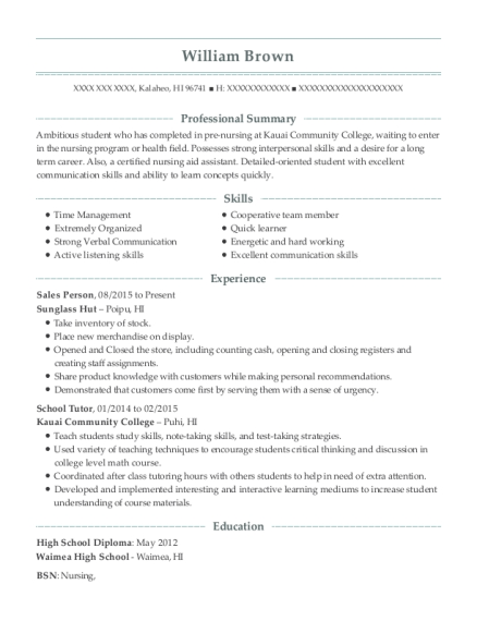 Sales Person resume example Hawaii