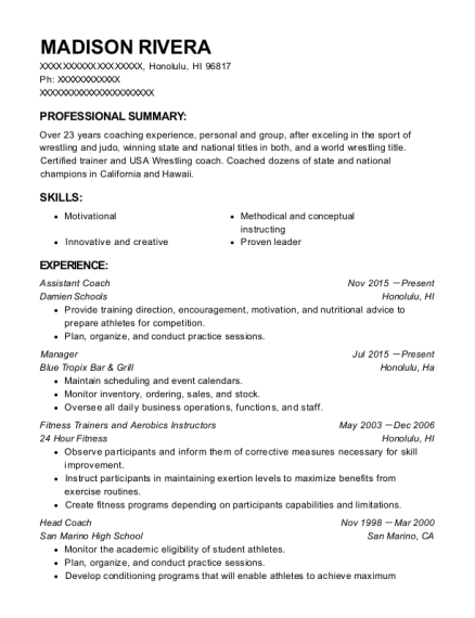 Assistant Coach resume template Hawaii