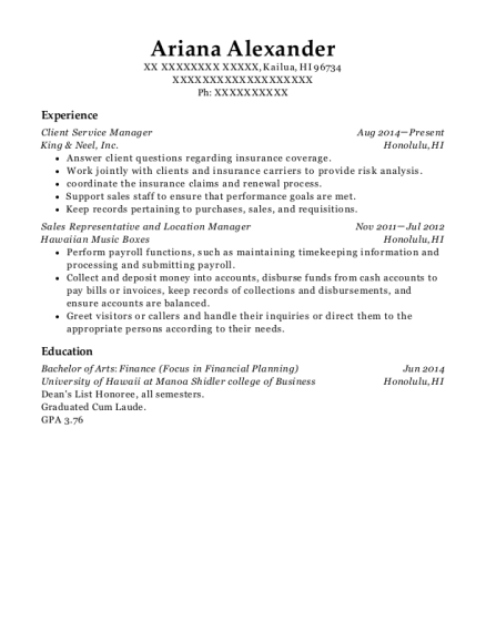 Client Service Manager resume format Hawaii