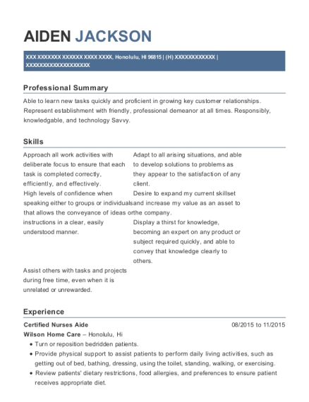 Certified Nurses Aide resume sample Hawaii
