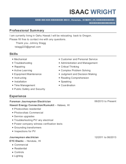 Foreman Journeyman Electrician resume example Hawaii