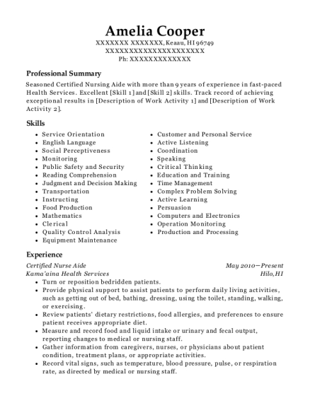 Certified Nurse Aide resume format Hawaii