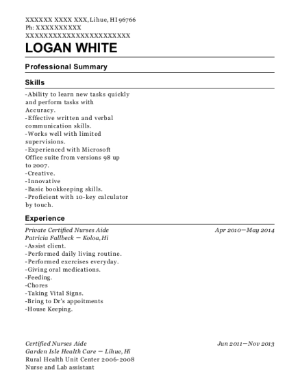 Private Certified Nurses Aide resume example Hawaii