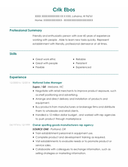National Sales Manager resume example Hawaii