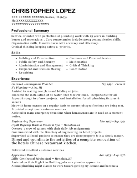 Licensed Journeyman Plumber resume format Hawaii