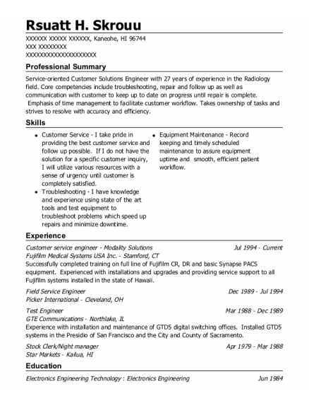 Field Service Engineer resume sample Hawaii