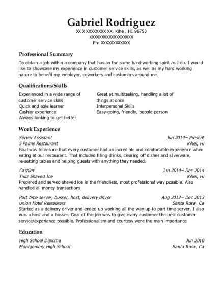 Server Assistant resume template Hawaii