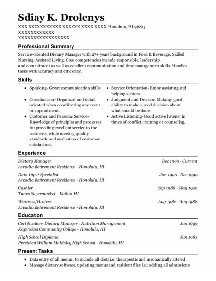 Dietary Manager resume template Hawaii