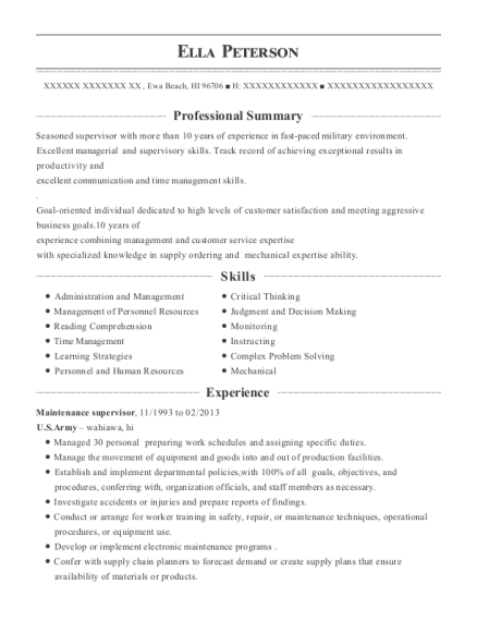 Maintenance Supervisor resume format Hawaii