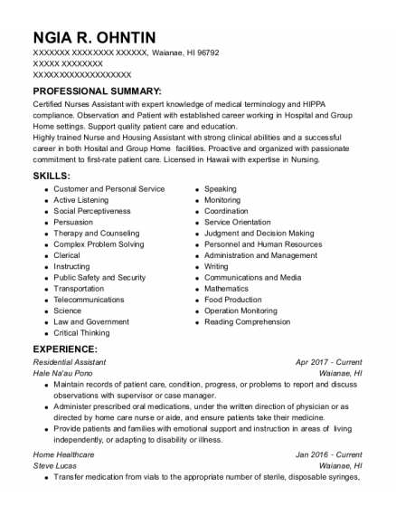Residential Assistant resume format Hawaii