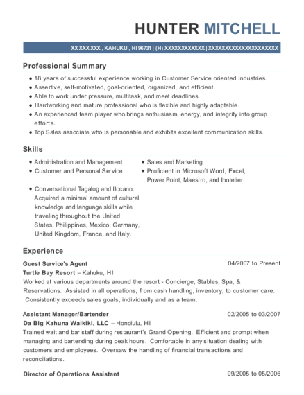 Guest Services Agent resume example Hawaii