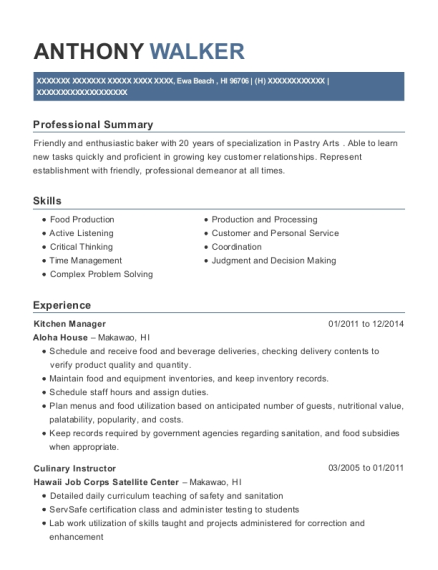 Kitchen Manager resume sample Hawaii