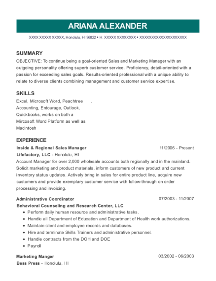 Inside & Regional Sales Manager resume template Hawaii