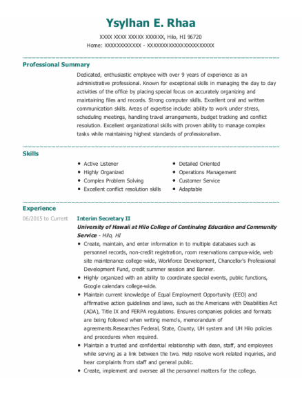 Assistant Kitchen Manager resume sample Hawaii