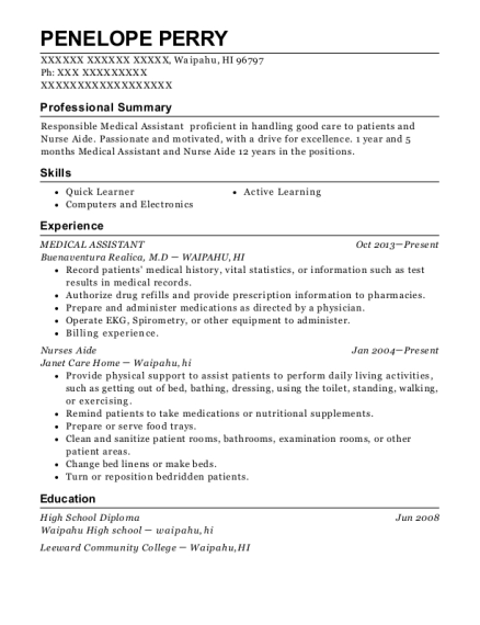 Medical Assistant resume format Hawaii
