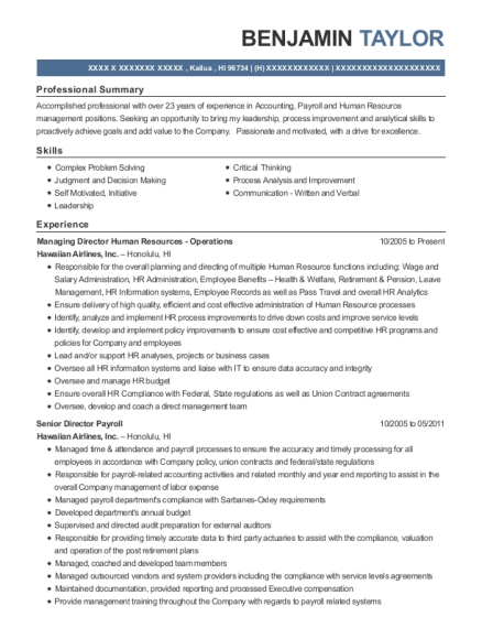 Managing Director Human Resources Operations resume format Hawaii