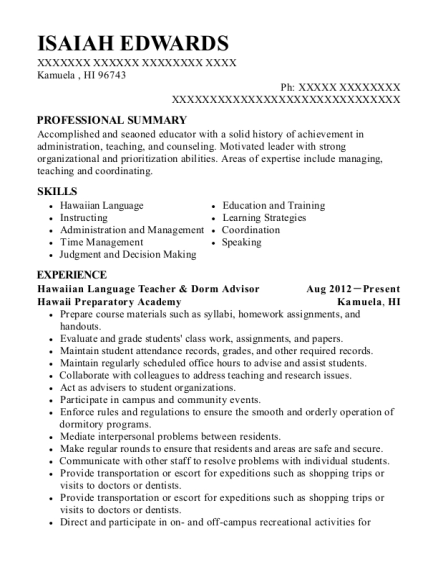 Hawaiian Language Teacher & Dorm Advisor resume sample Hawaii