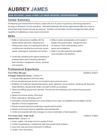 Front Office Manager resume format Hawaii