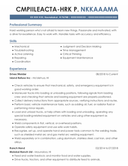 Driver resume template Hawaii