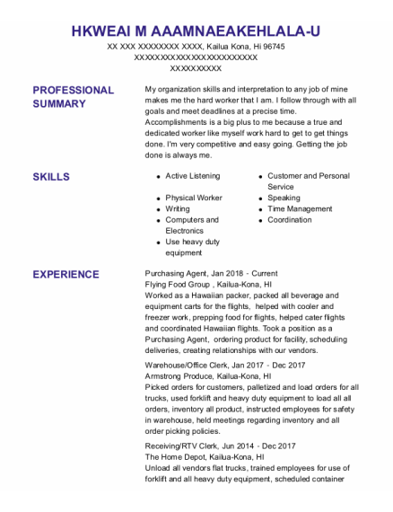 Purchasing Agent resume example Hawaii