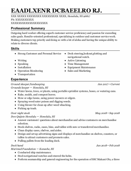 OVER NIGHT STOCK resume template Hawaii