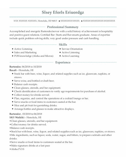 Bartender resume format Hawaii