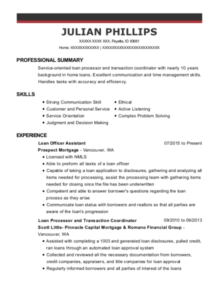 Loan Officer Assistant resume example Idaho