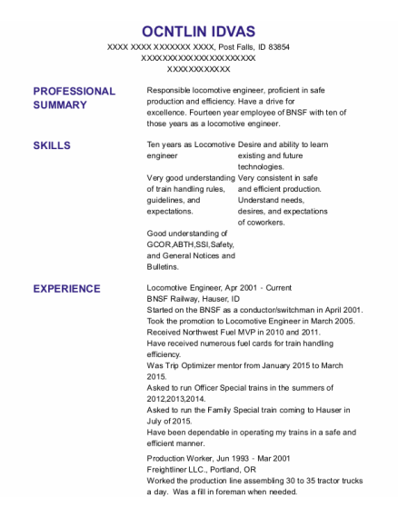 Locomotive Engineer resume format Idaho