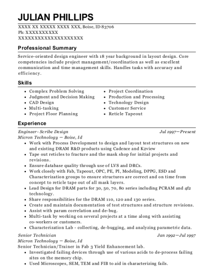 Engineer Scribe Design resume sample Idaho