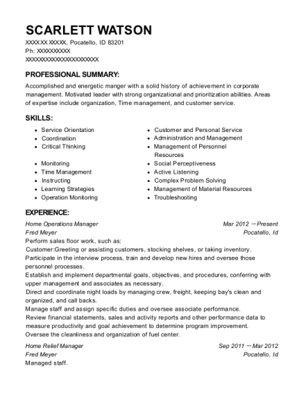 Home Operations Manager resume sample Idaho
