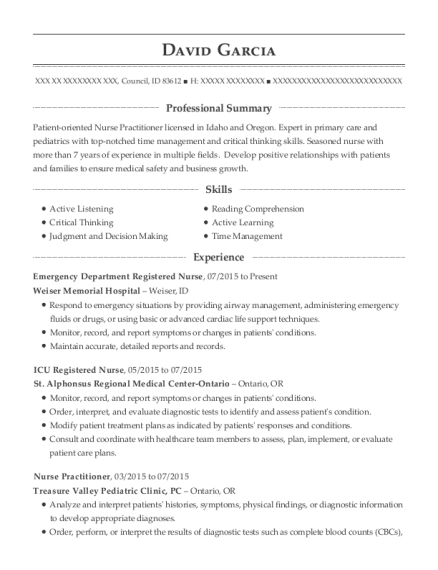 Emergency Department Registered Nurse resume format Idaho