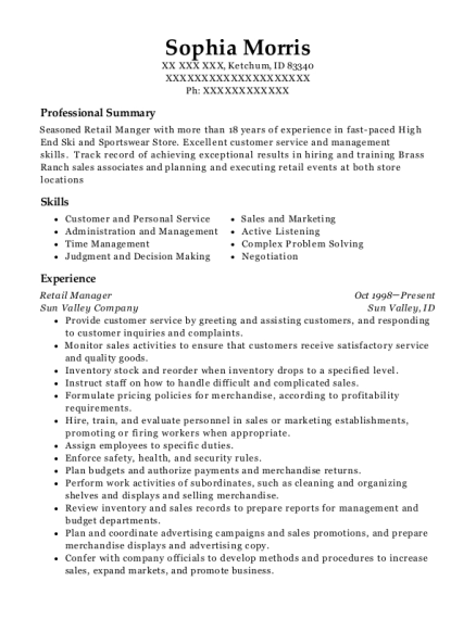 Retail Manager resume template Idaho