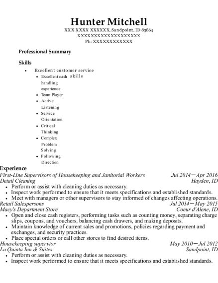 First Line Supervisors of Housekeeping and Janitorial Workers resume format Idaho