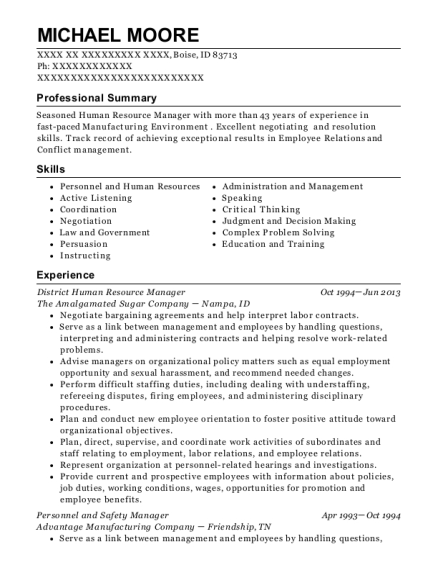 District Human Resource Manager resume sample Idaho