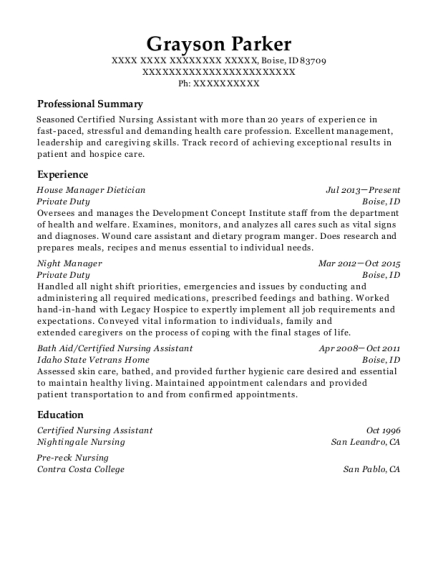 House Manager Dietician resume sample Idaho