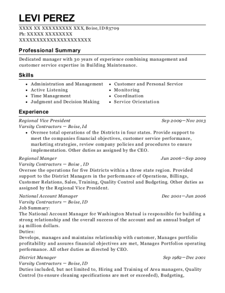 Regional Vice President resume sample Idaho