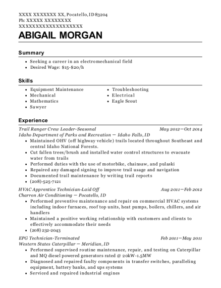 Trail Ranger Crew Leader Seasonal resume sample Idaho