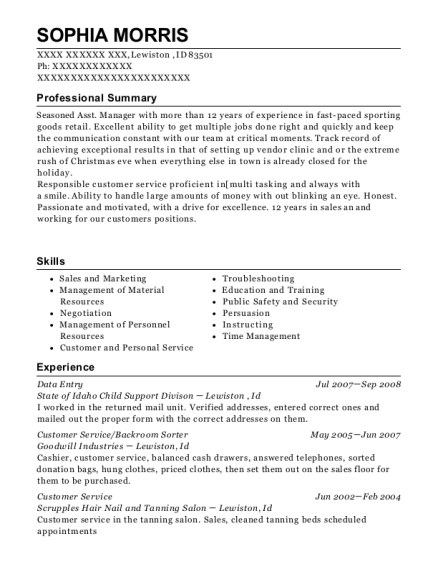 Data Entry resume sample Idaho