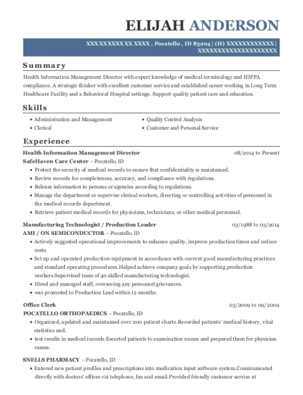 Health Information Management Director resume template Idaho