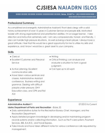 Adminstrative Assistant resume template Idaho
