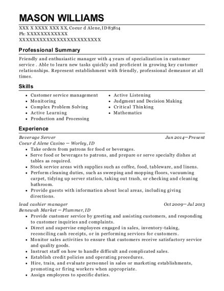Beverage Server resume sample Idaho