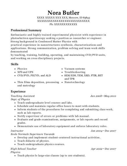 Teaching Assistant resume template Idaho