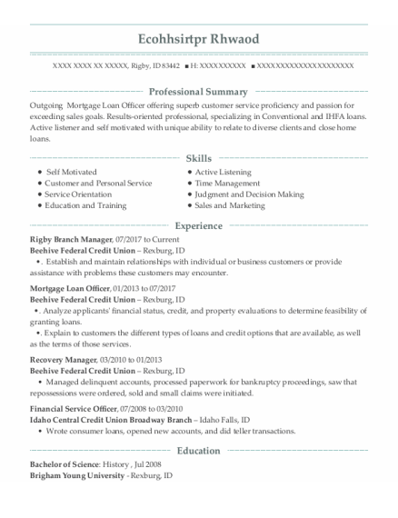 Mortgage Loan Officer resume sample Idaho