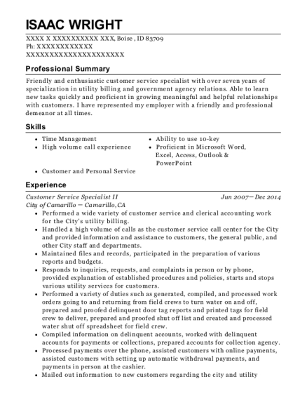 Customer Service Specialist II resume example Idaho
