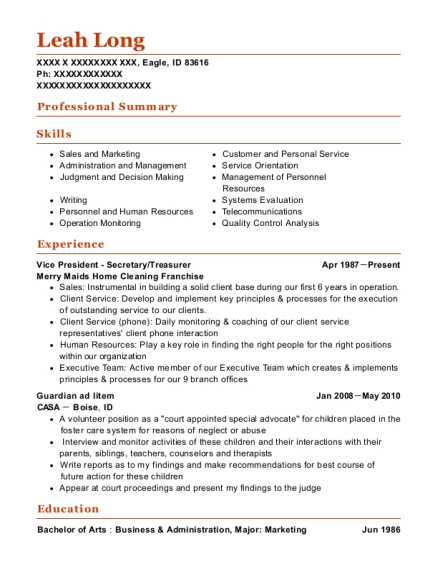 Vice President Secretary resume sample Idaho