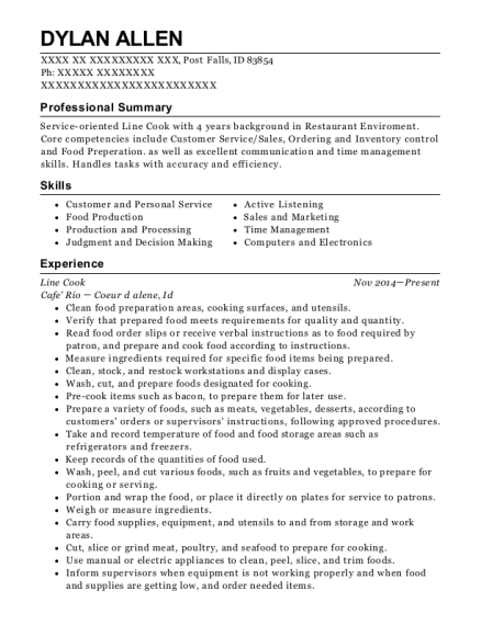 Line Cook resume example Idaho