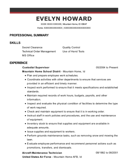 Custodial Supervisor resume format Idaho